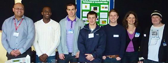 Lecturer Dr Jon Gates, with students Chris, Mark, Mark, Sam, Colette & Matt at the launch event