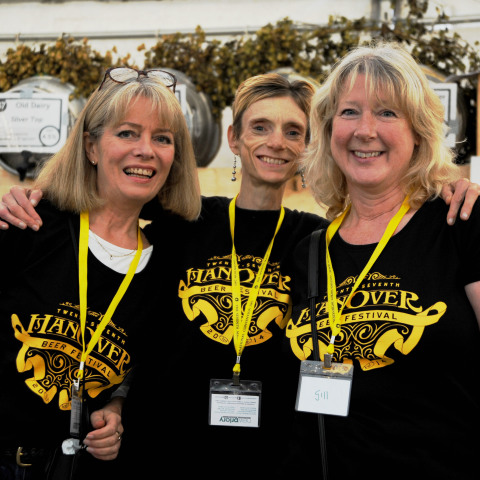 Volunteers  Jill Peters , Charlotte Marples & Gill Perkins. Photograph taken by Simon Dack